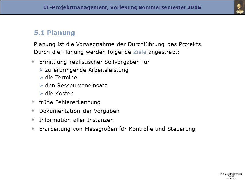 IT-Projektmanagement, Vorlesung Sommersemester 2015 Prof. Dr. Herrad Schmidt SS 15 V3, Folie 3 5.1 Planung Planung ist die Vorwegnahme der Durchführun