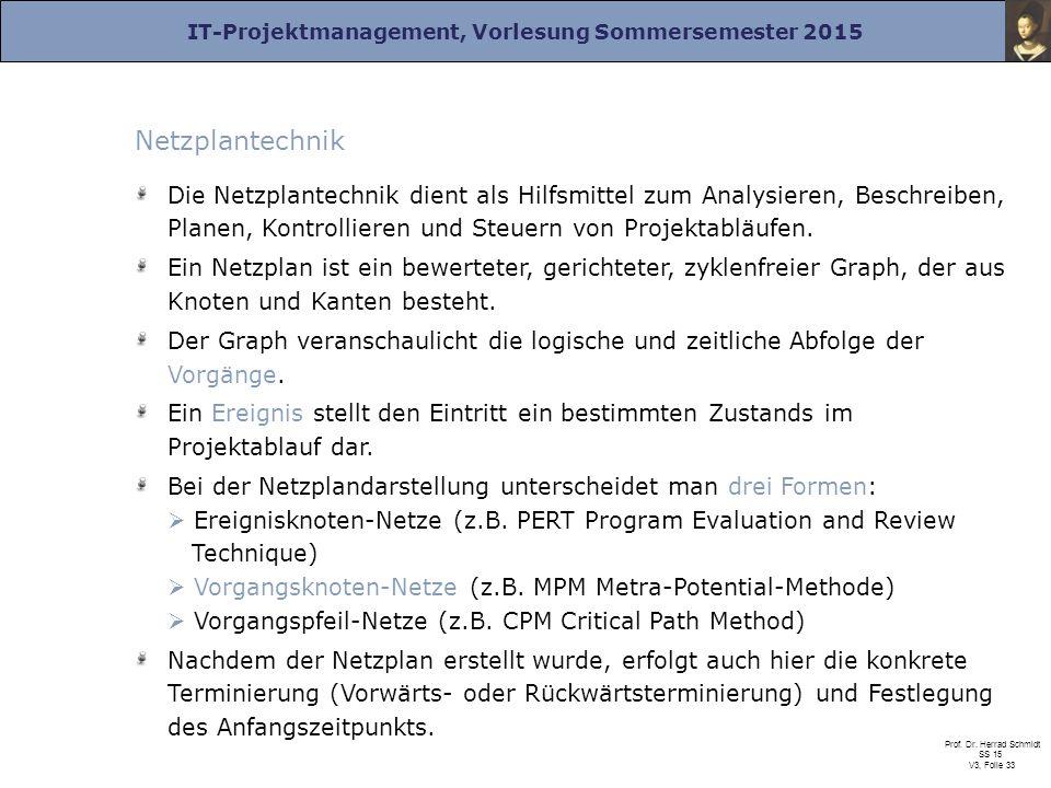 IT-Projektmanagement, Vorlesung Sommersemester 2015 Prof. Dr. Herrad Schmidt SS 15 V3, Folie 33 Netzplantechnik Die Netzplantechnik dient als Hilfsmit