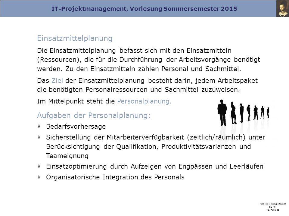 IT-Projektmanagement, Vorlesung Sommersemester 2015 Prof. Dr. Herrad Schmidt SS 15 V3, Folie 38 Einsatzmittelplanung Die Einsatzmittelplanung befasst