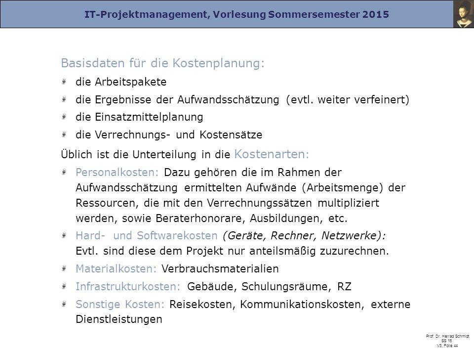 IT-Projektmanagement, Vorlesung Sommersemester 2015 Prof. Dr. Herrad Schmidt SS 15 V3, Folie 44 Basisdaten für die Kostenplanung: die Arbeitspakete di