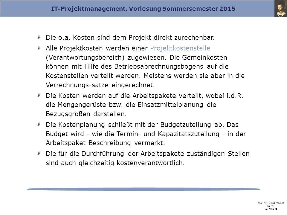 IT-Projektmanagement, Vorlesung Sommersemester 2015 Prof. Dr. Herrad Schmidt SS 15 V3, Folie 45 Die o.a. Kosten sind dem Projekt direkt zurechenbar. A