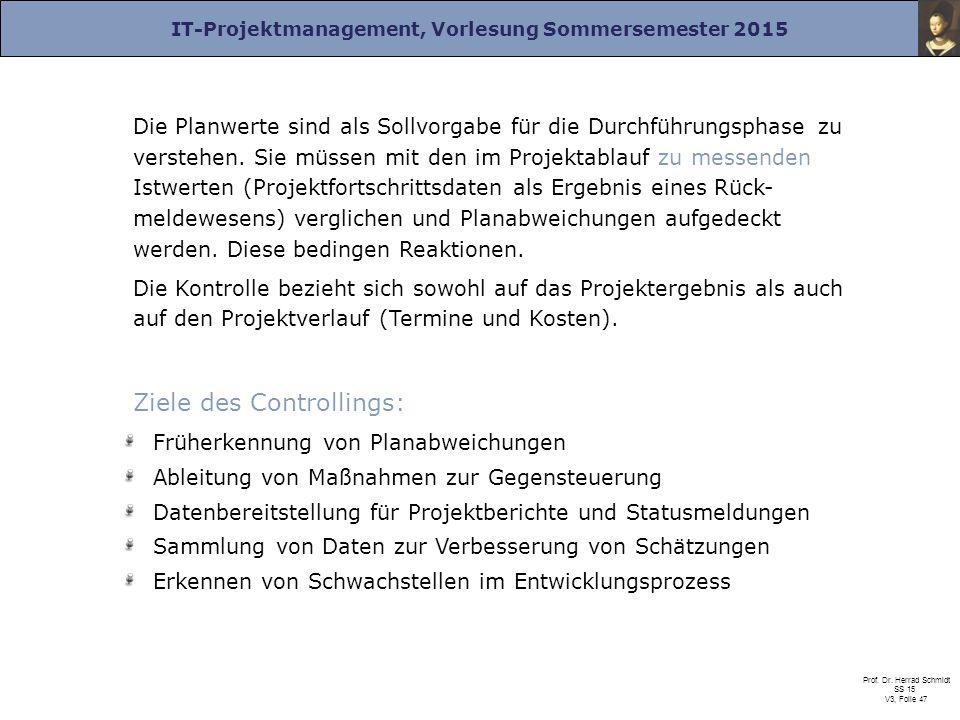 IT-Projektmanagement, Vorlesung Sommersemester 2015 Prof. Dr. Herrad Schmidt SS 15 V3, Folie 47 Die Planwerte sind als Sollvorgabe für die Durchführun