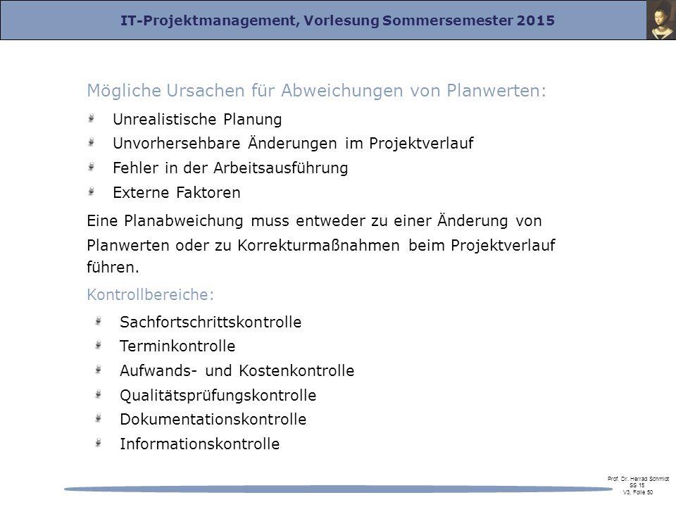 IT-Projektmanagement, Vorlesung Sommersemester 2015 Prof. Dr. Herrad Schmidt SS 15 V3, Folie 50 Mögliche Ursachen für Abweichungen von Planwerten: Unr