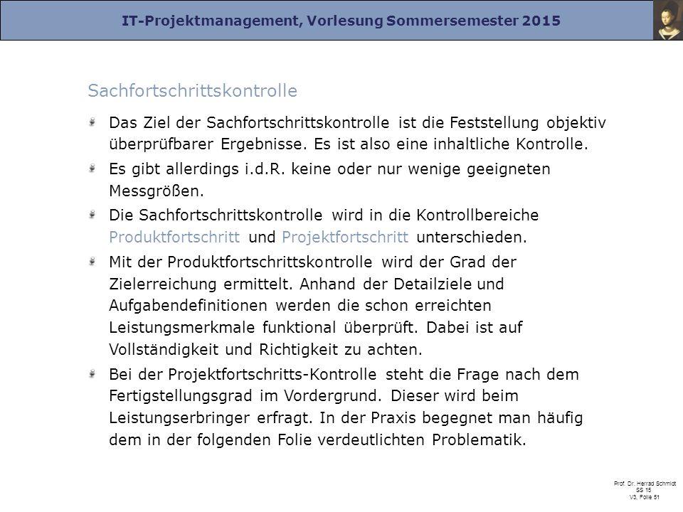 IT-Projektmanagement, Vorlesung Sommersemester 2015 Prof. Dr. Herrad Schmidt SS 15 V3, Folie 51 Sachfortschrittskontrolle Das Ziel der Sachfortschritt