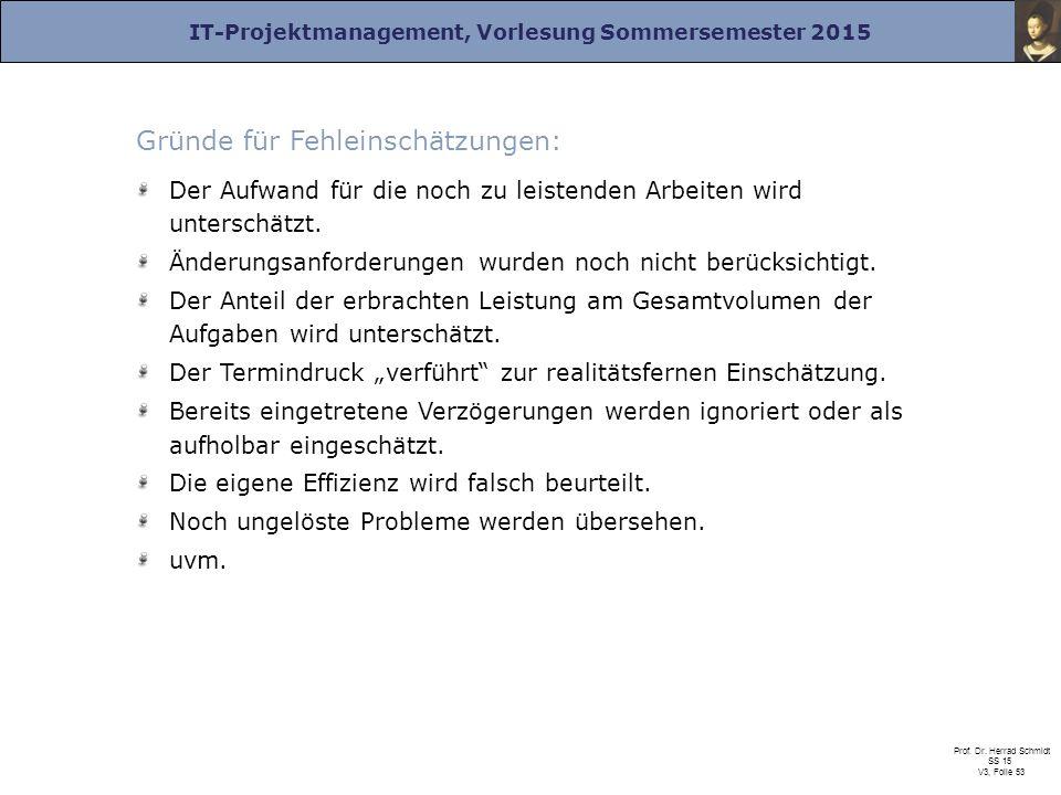 IT-Projektmanagement, Vorlesung Sommersemester 2015 Prof. Dr. Herrad Schmidt SS 15 V3, Folie 53 Gründe für Fehleinschätzungen: Der Aufwand für die noc