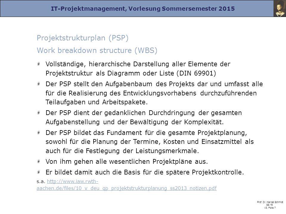 IT-Projektmanagement, Vorlesung Sommersemester 2015 Prof. Dr. Herrad Schmidt SS 15 V3, Folie 7 Projektstrukturplan (PSP) Work breakdown structure (WBS