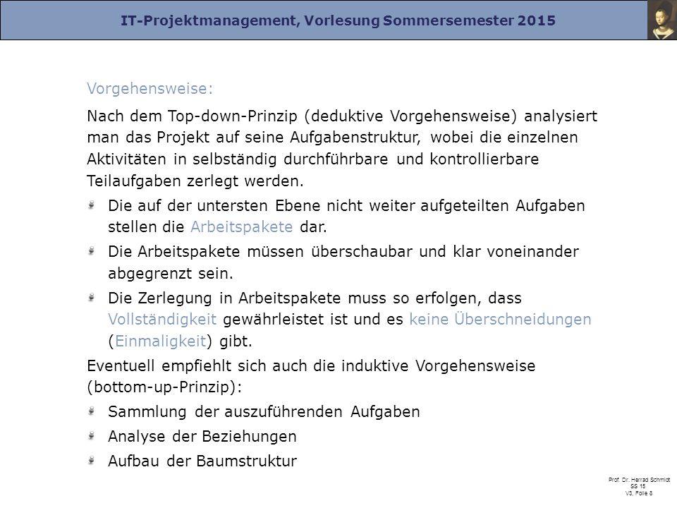 IT-Projektmanagement, Vorlesung Sommersemester 2015 Prof. Dr. Herrad Schmidt SS 15 V3, Folie 8 Vorgehensweise: Nach dem Top-down-Prinzip (deduktive Vo