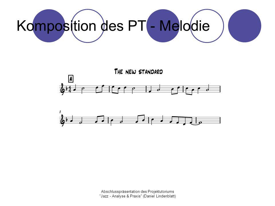 Abschlusspräsentation des Projektutoriums Jazz - Analyse & Praxis (Daniel Lindenblatt) Komposition des PT - Melodie