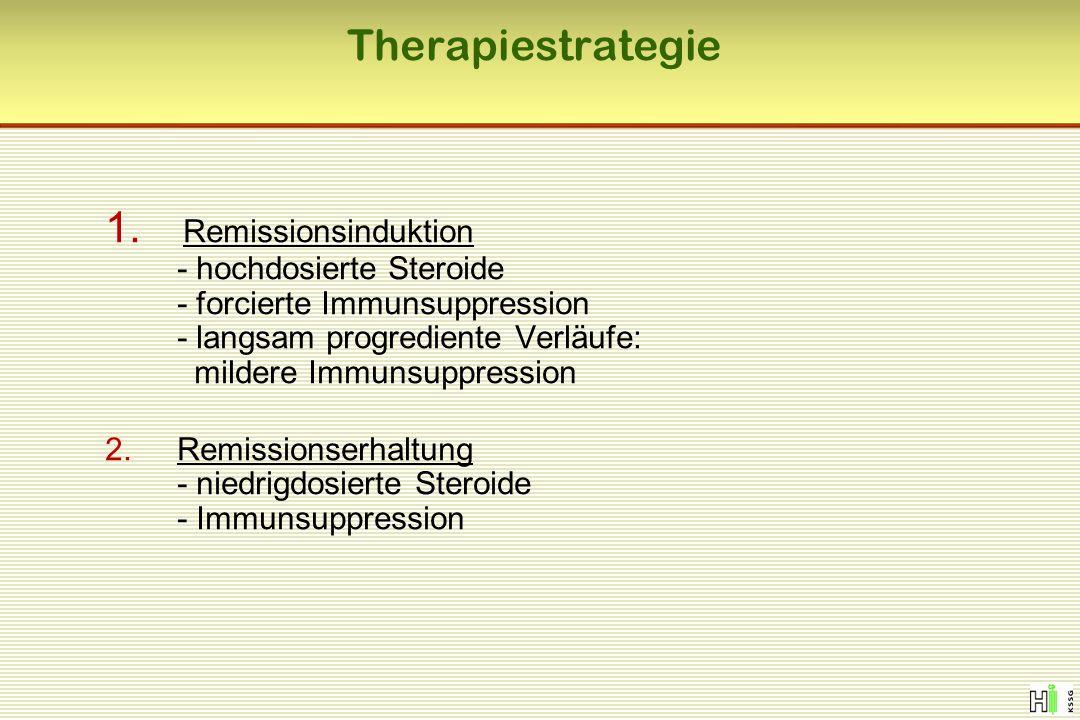 Therapiestrategie 1. Remissionsinduktion - hochdosierte Steroide - forcierte Immunsuppression - langsam progrediente Verläufe: mildere Immunsuppressio