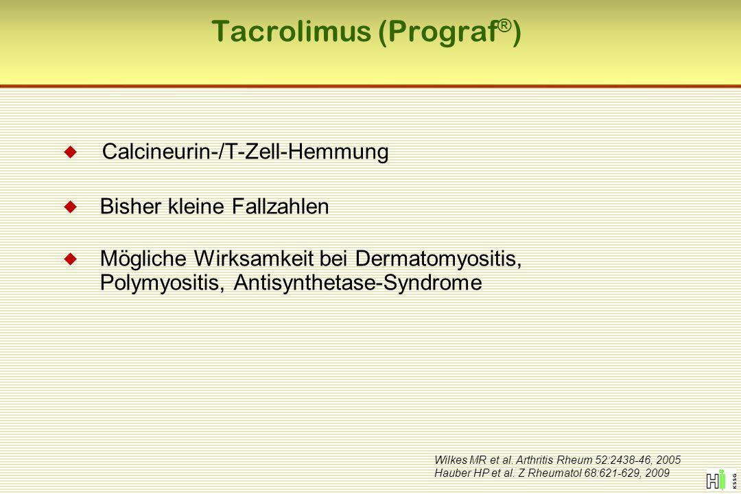 Tacrolimus (Prograf ® ) Wilkes MR et al. Arthritis Rheum 52:2438-46, 2005 Hauber HP et al. Z Rheumatol 68:621-629, 2009  Calcineurin-/T-Zell-Hemmung