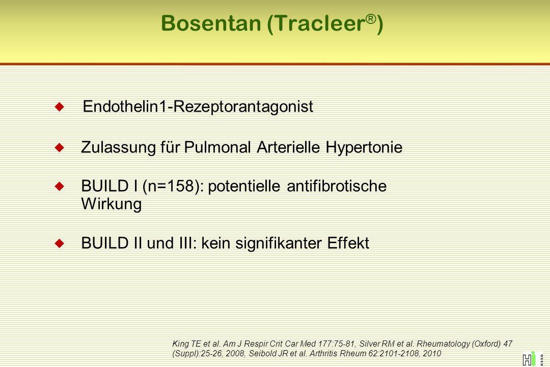 Bosentan (Tracleer ® )  Endothelin1-Rezeptorantagonist  Zulassung für Pulmonal Arterielle Hypertonie  BUILD I (n=158): potentielle antifibrotische