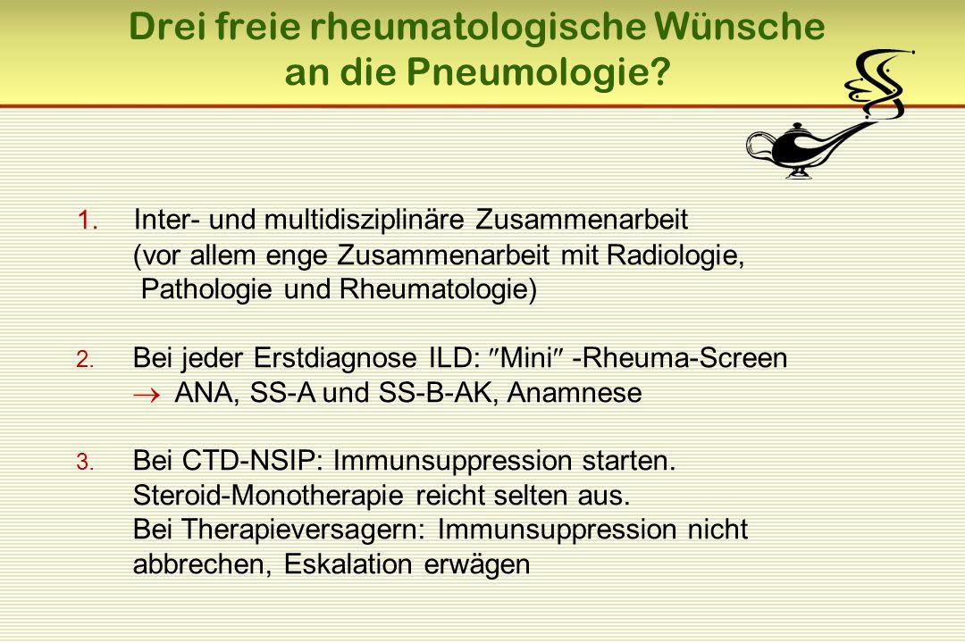1. Inter- und multidisziplinäre Zusammenarbeit (vor allem enge Zusammenarbeit mit Radiologie, Pathologie und Rheumatologie) 2. Bei jeder Erstdiagnose