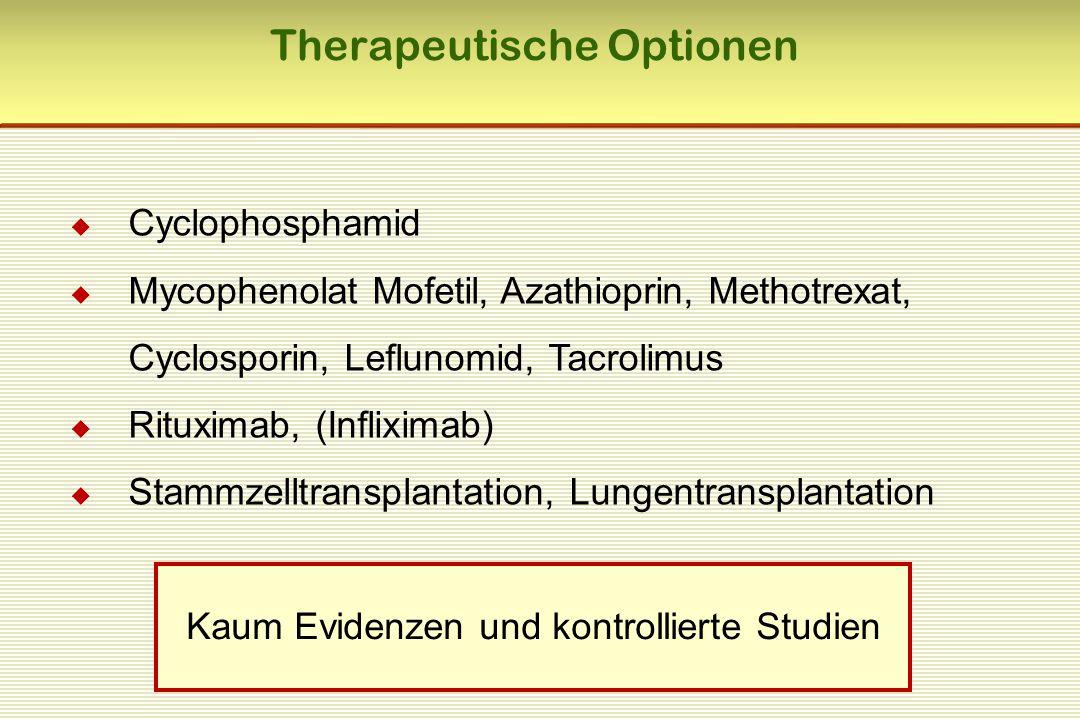 Therapeutische Optionen  Cyclophosphamid  Mycophenolat Mofetil, Azathioprin, Methotrexat, Cyclosporin, Leflunomid, Tacrolimus  Rituximab, (Inflixim