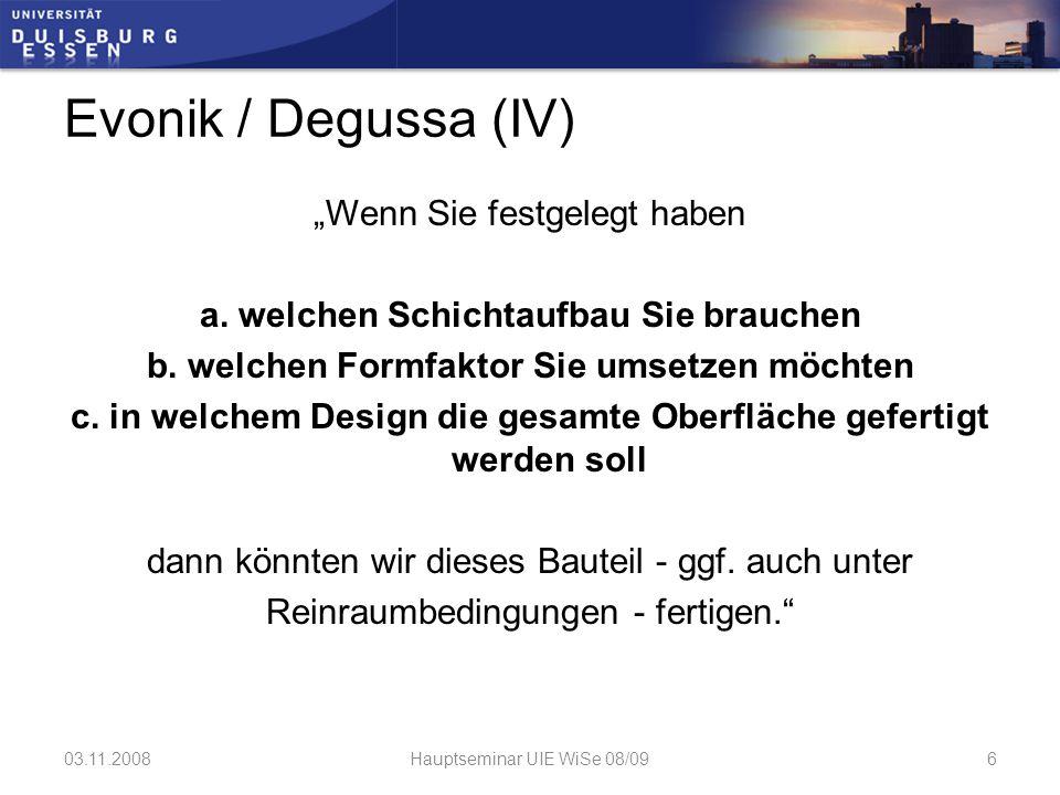 Evonik / Degussa (V) Contact: o Dr.
