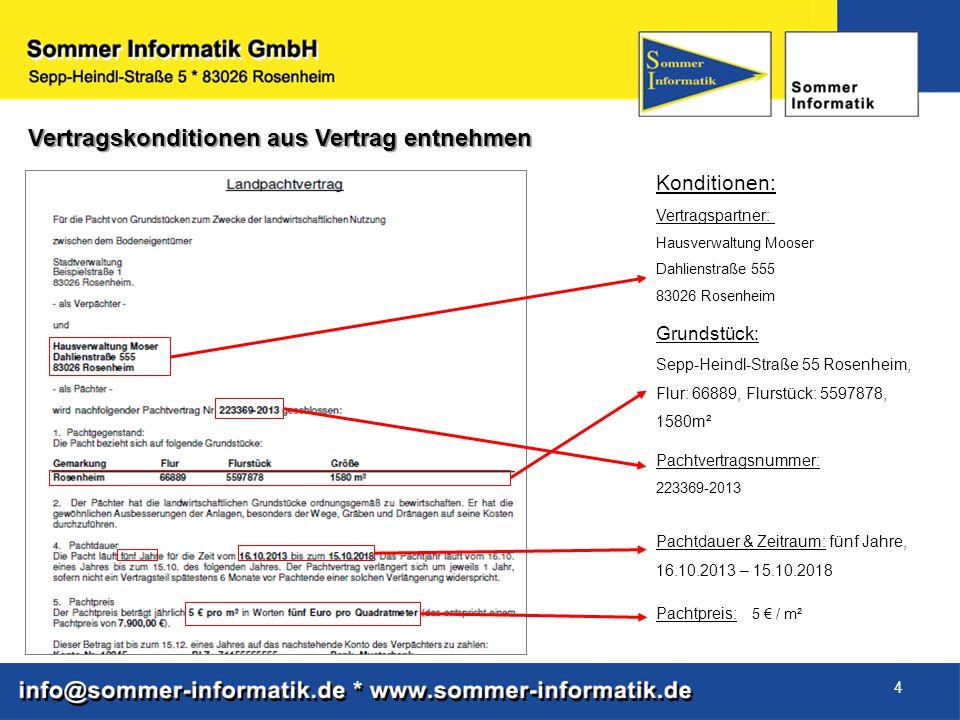 4 Vertragskonditionen aus Vertrag entnehmen Konditionen: Vertragspartner: Hausverwaltung Mooser Dahlienstraße 555 83026 Rosenheim Grundstück: Sepp-Hei