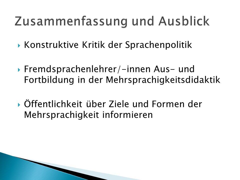  Konstruktive Kritik der Sprachenpolitik  Fremdsprachenlehrer/-innen Aus- und Fortbildung in der Mehrsprachigkeitsdidaktik  Öffentlichkeit über Ziele und Formen der Mehrsprachigkeit informieren