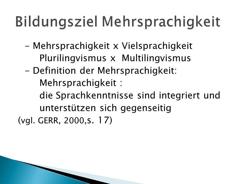 - Mehrsprachigkeit x Vielsprachigkeit Plurilingvismus x Multilingvismus - Definition der Mehrsprachigkeit: Mehrsprachigkeit : die Sprachkenntnisse sind integriert und unterstützen sich gegenseitig ( vgl.