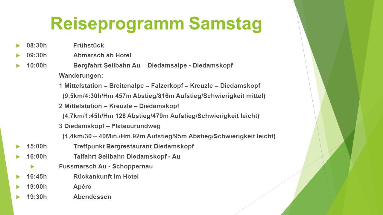 Reiseprogramm Samstag  08:30hFrühstück  09:30hAbmarsch ab Hotel  10:00hBergfahrt Seilbahn Au – Diedamsalpe - Diedamskopf Wanderungen: 1 Mittelstati