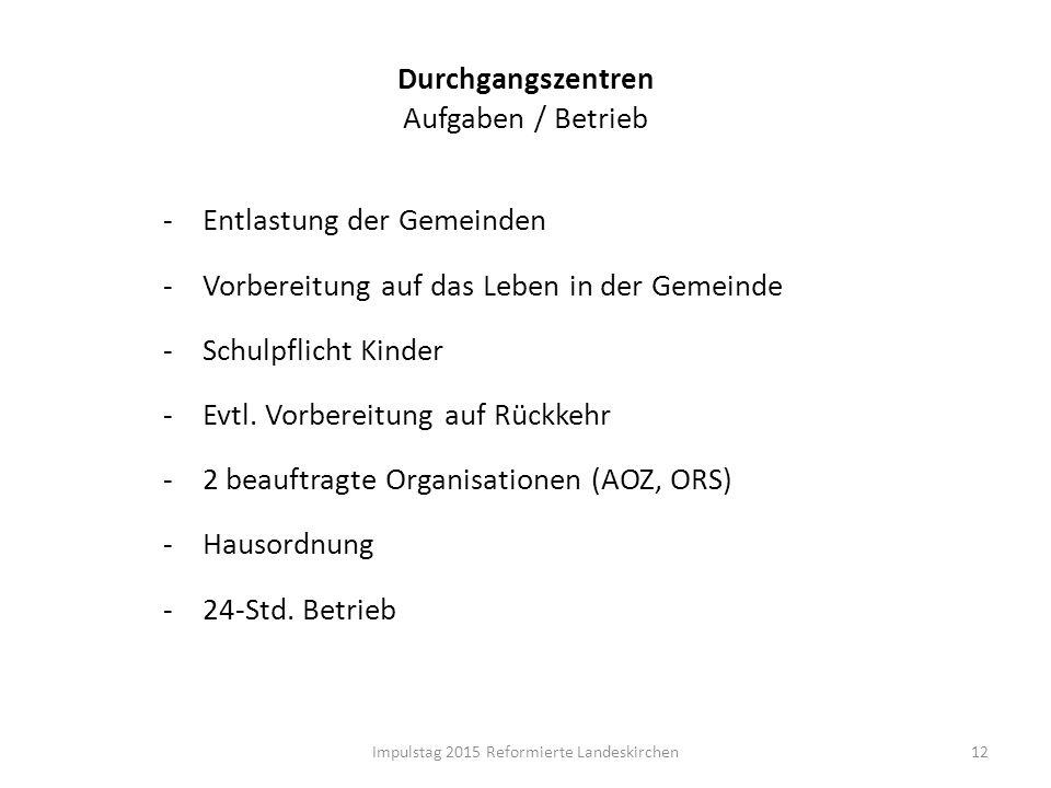 Durchgangszentren Aufgaben / Betrieb 12Impulstag 2015 Reformierte Landeskirchen -Entlastung der Gemeinden -Vorbereitung auf das Leben in der Gemeinde