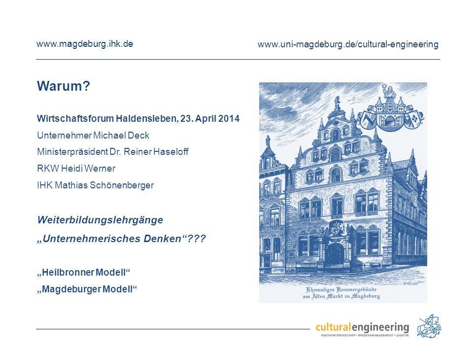 www.magdeburg.ihk.de www.uni-magdeburg.de/cultural-engineering Warum? Wirtschaftsforum Haldensleben, 23. April 2014 Unternehmer Michael Deck Ministerp
