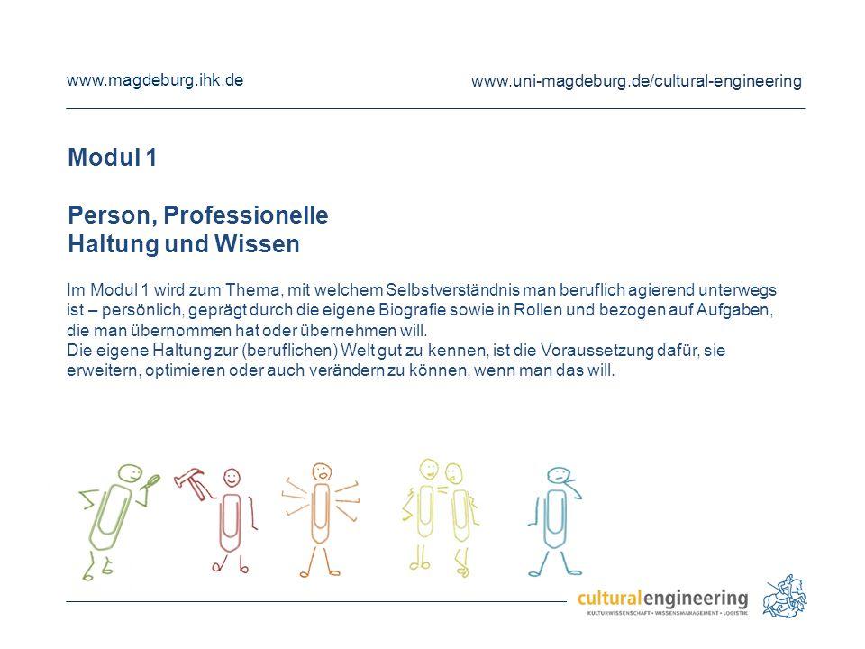 www.magdeburg.ihk.de www.uni-magdeburg.de/cultural-engineering Modul 1 Person, Professionelle Haltung und Wissen Im Modul 1 wird zum Thema, mit welche