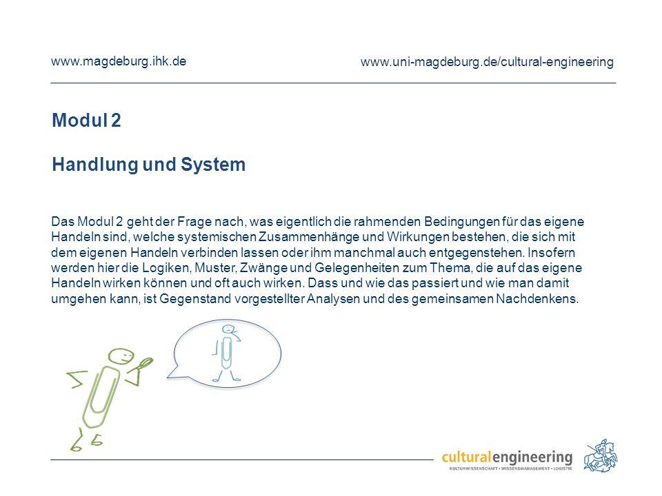 www.magdeburg.ihk.de www.uni-magdeburg.de/cultural-engineering Modul 3 System, Organisation und Ethik Die Arbeitszusammenhänge, in denen man steht und agiert, sind Thema von Modul 3.