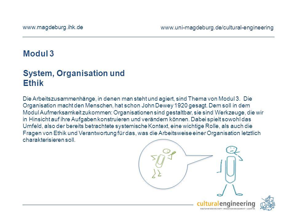 www.magdeburg.ihk.de www.uni-magdeburg.de/cultural-engineering Modul 4 Interventions- und Innovationsstrategien Da immer schon etwas da ist, auch wenn man neu und bewusst gestaltend unterwegs ist, beschäftigt sich das Modul 4 mit den Einwirkungsmöglichkeiten, die sich auf allen bisher betrachten Feldern ergeben und ergriffen werden können.