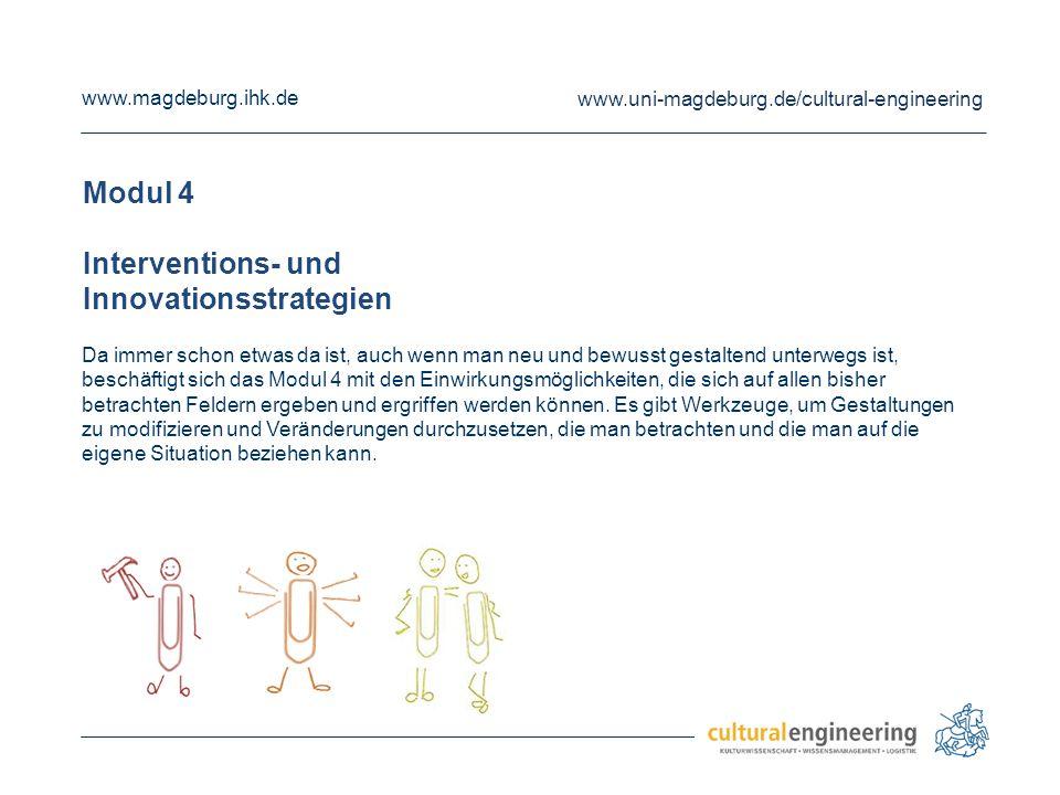 www.magdeburg.ihk.de www.uni-magdeburg.de/cultural-engineering Modul 5 Transformatives Agieren Im Modul 5 geht es genau um letzteres: Unter dem Titel 'Transformatives Agieren' besteht Anlass und Gelegenheit, die erweiterten Verständnisse zur eigenen Person und Rolle, zu ggf.