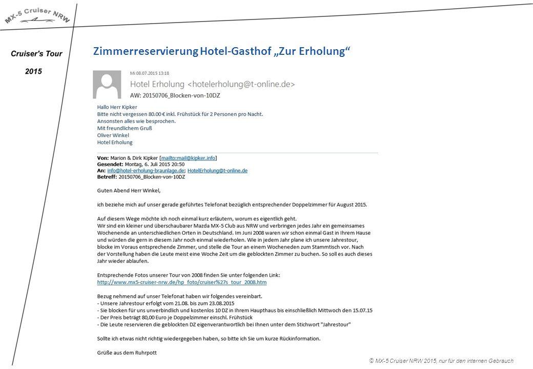 """Zimmerreservierung Hotel-Gasthof """"Zur Erholung © MX-5 Cruiser NRW 2015, nur für den internen Gebrauch"""