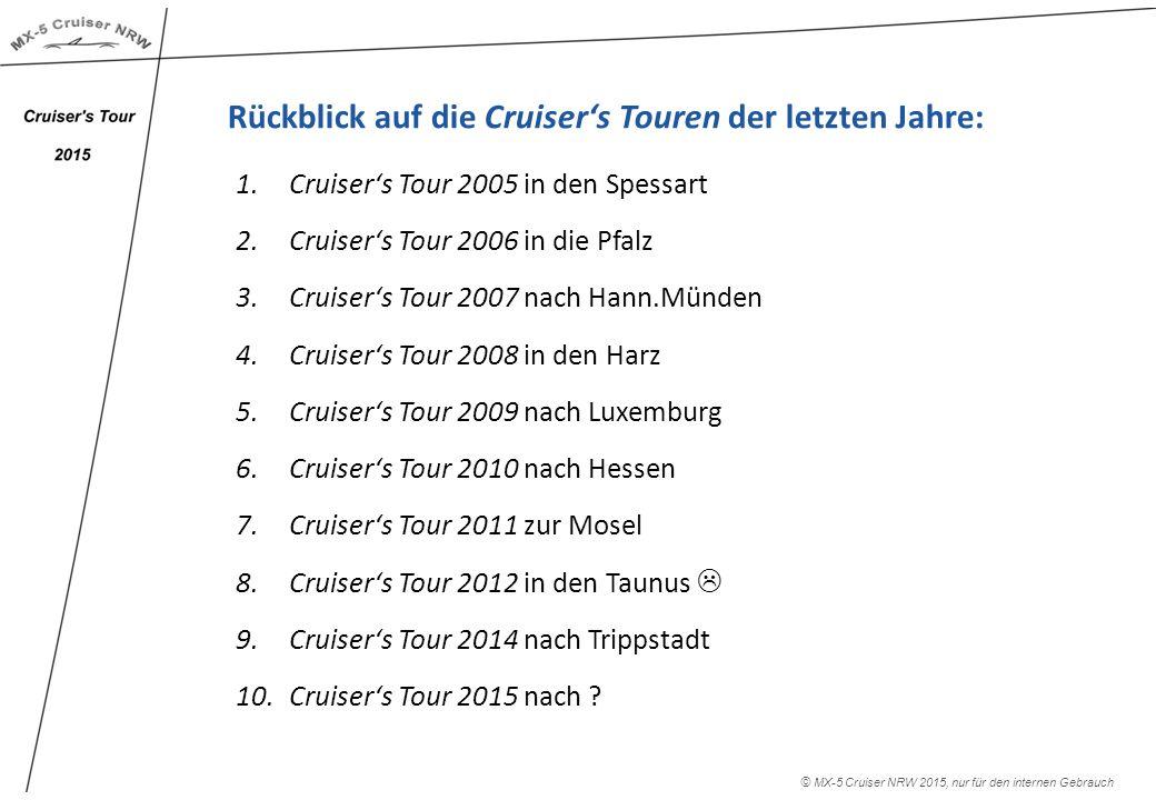 Rückblick auf die Cruiser's Touren der letzten Jahre: 1.Cruiser's Tour 2005 in den Spessart 2.Cruiser's Tour 2006 in die Pfalz 3.Cruiser's Tour 2007 nach Hann.Münden 4.Cruiser's Tour 2008 in den Harz 5.Cruiser's Tour 2009 nach Luxemburg 6.Cruiser's Tour 2010 nach Hessen 7.Cruiser's Tour 2011 zur Mosel 8.Cruiser's Tour 2012 in den Taunus  9.Cruiser's Tour 2014 nach Trippstadt 10.Cruiser's Tour 2015 nach .