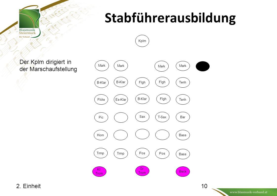 Stabführerausbildung 2.Einheit Der Kplm dirigiert in der Marschaufstellung Kl.