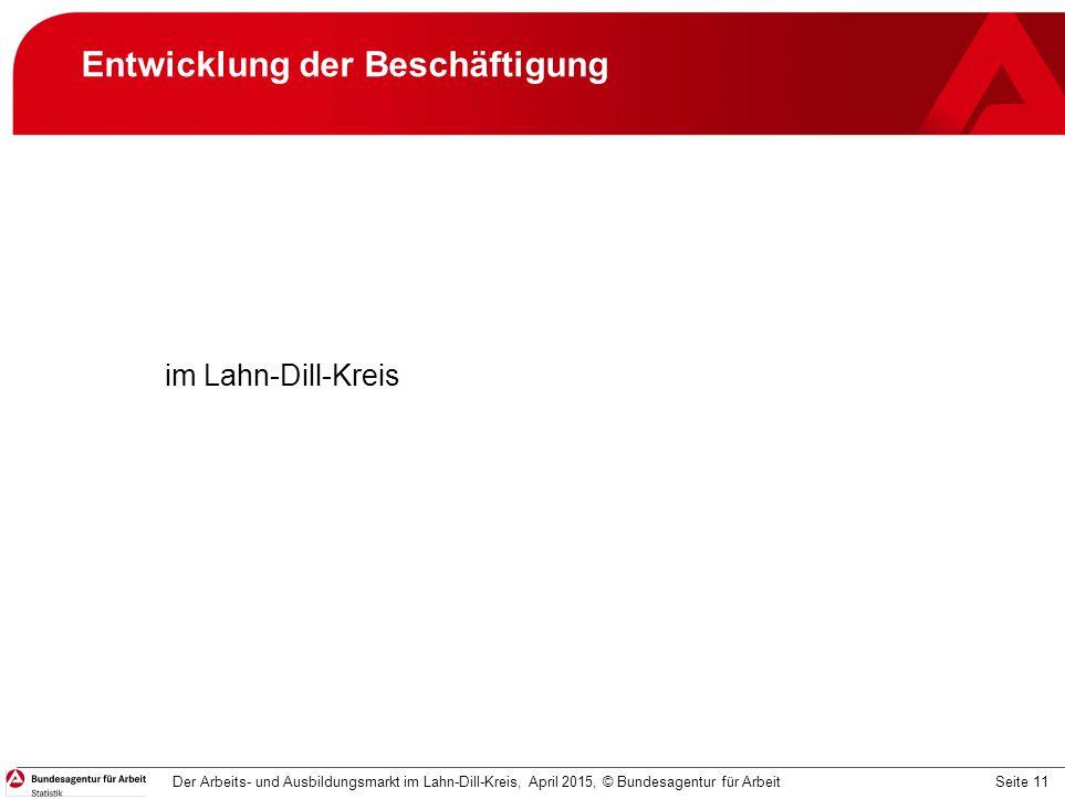 Seite 11 Entwicklung der Beschäftigung im Lahn-Dill-Kreis Der Arbeits- und Ausbildungsmarkt im Lahn-Dill-Kreis, April 2015, © Bundesagentur für Arbeit