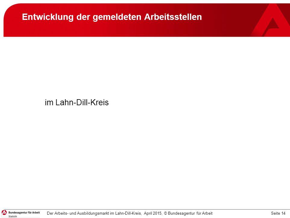 Seite 14 Entwicklung der gemeldeten Arbeitsstellen im Lahn-Dill-Kreis Der Arbeits- und Ausbildungsmarkt im Lahn-Dill-Kreis, April 2015, © Bundesagentu