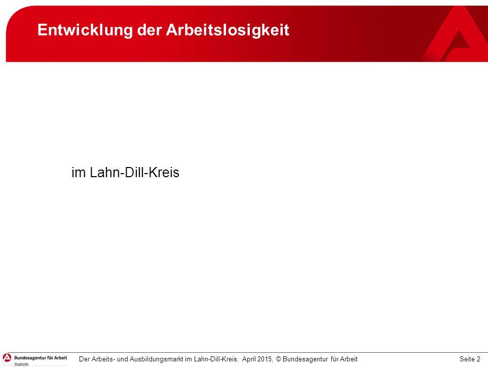 Seite 2 Entwicklung der Arbeitslosigkeit Der Arbeits- und Ausbildungsmarkt im Lahn-Dill-Kreis, April 2015, © Bundesagentur für Arbeit im Lahn-Dill-Kre