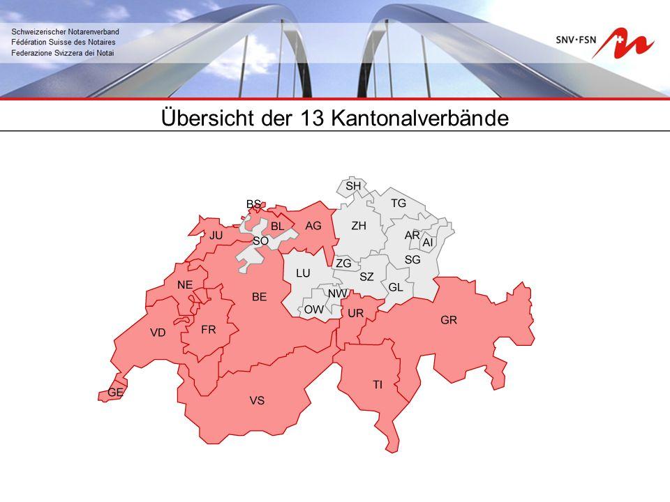 Übersicht der 13 Kantonalverbände