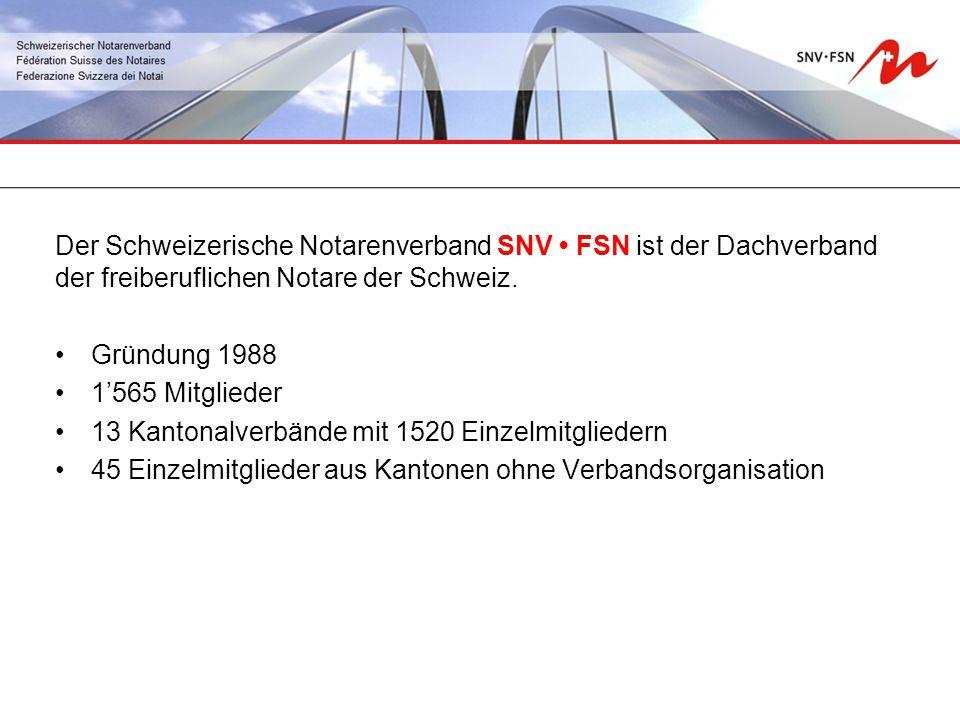 Der Schweizerische Notarenverband SNV FSN ist der Dachverband der freiberuflichen Notare der Schweiz.
