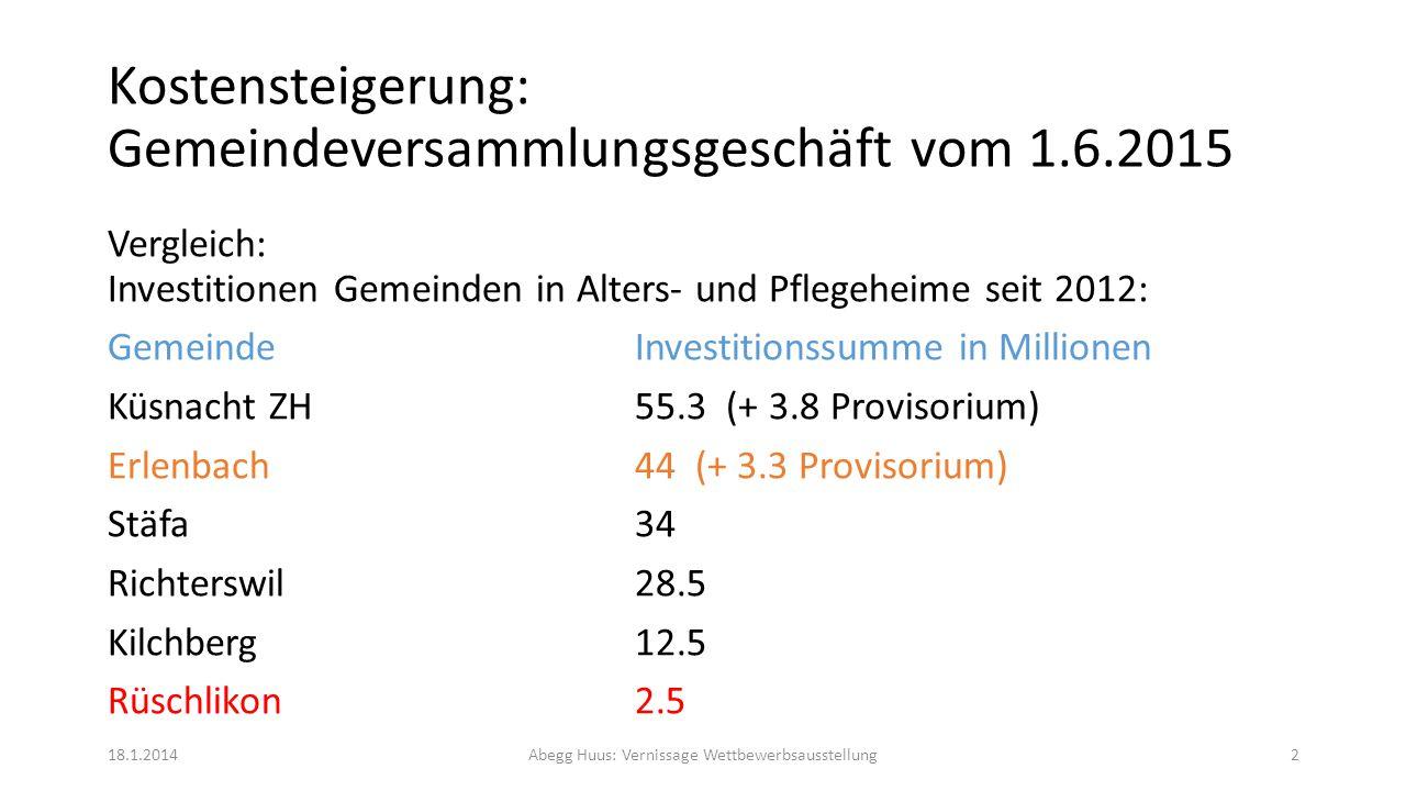 Kostensteigerung: Gemeindeversammlungsgeschäft vom 1.6.2015 Seit dem Bau des Abegg Huus 1976 musste die Gemeinde Rüschlikon keine Investitionsbeiträge an das Abegg Huus leisten.