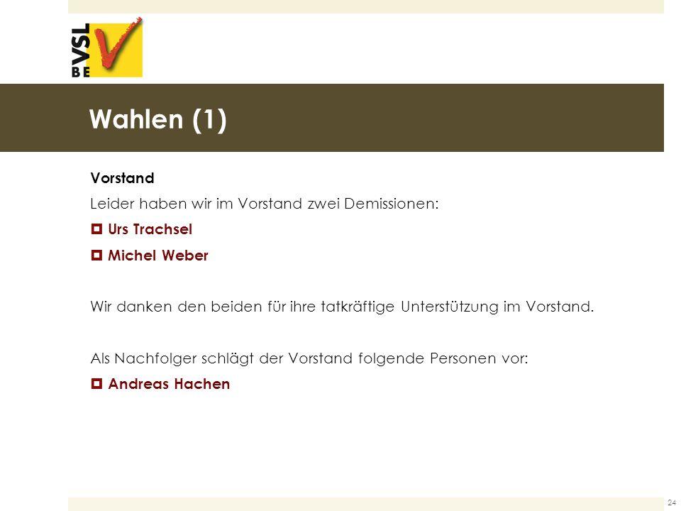 Wahlen (1) Vorstand Leider haben wir im Vorstand zwei Demissionen:  Urs Trachsel  Michel Weber Wir danken den beiden für ihre tatkräftige Unterstützung im Vorstand.