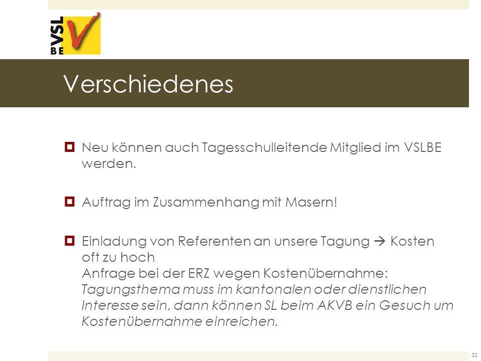 Verschiedenes  Neu können auch Tagesschulleitende Mitglied im VSLBE werden.