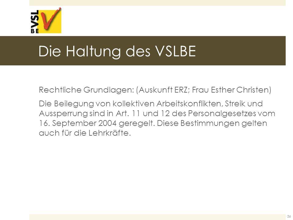 Die Haltung des VSLBE Rechtliche Grundlagen: (Auskunft ERZ; Frau Esther Christen) Die Beilegung von kollektiven Arbeitskonflikten, Streik und Aussperrung sind in Art.