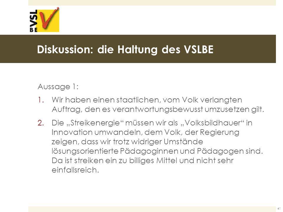 Diskussion: die Haltung des VSLBE Aussage 1: 1.Wir haben einen staatlichen, vom Volk verlangten Auftrag, den es verantwortungsbewusst umzusetzen gilt.