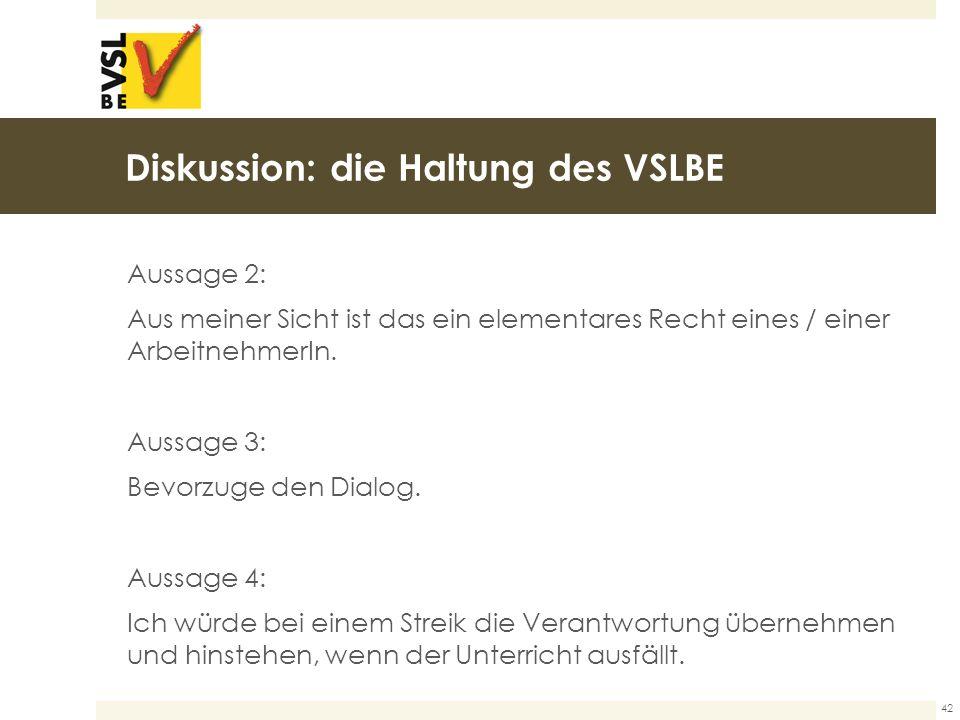 Diskussion: die Haltung des VSLBE Aussage 2: Aus meiner Sicht ist das ein elementares Recht eines / einer ArbeitnehmerIn.