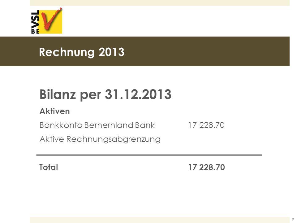 Rechnung 2013 Bilanz per 31.12.2013 Aktiven Bankkonto Bernernland Bank17 228.70 Aktive Rechnungsabgrenzung Total17 228.70 9