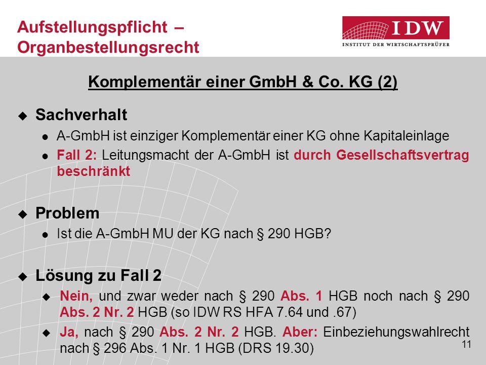 11 Komplementär einer GmbH & Co. KG (2)  Sachverhalt A-GmbH ist einziger Komplementär einer KG ohne Kapitaleinlage Fall 2: Leitungsmacht der A-GmbH i