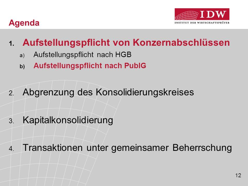 12 Agenda 1. Aufstellungspflicht von Konzernabschlüssen a) Aufstellungspflicht nach HGB b) Aufstellungspflicht nach PublG 2. Abgrenzung des Konsolidie