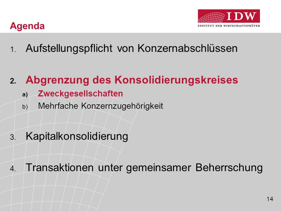 14 Agenda 1. Aufstellungspflicht von Konzernabschlüssen 2. Abgrenzung des Konsolidierungskreises a) Zweckgesellschaften b) Mehrfache Konzernzugehörigk