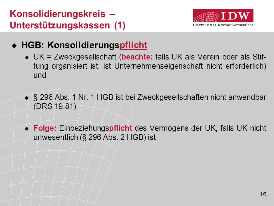 16 Konsolidierungskreis – Unterstützungskassen (1)  HGB: Konsolidierungspflicht UK = Zweckgesellschaft (beachte: falls UK als Verein oder als Stif- t