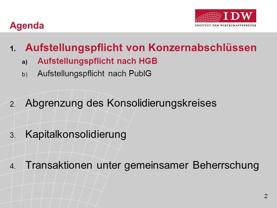 2 Agenda 1. Aufstellungspflicht von Konzernabschlüssen a) Aufstellungspflicht nach HGB b) Aufstellungspflicht nach PublG 2. Abgrenzung des Konsolidier
