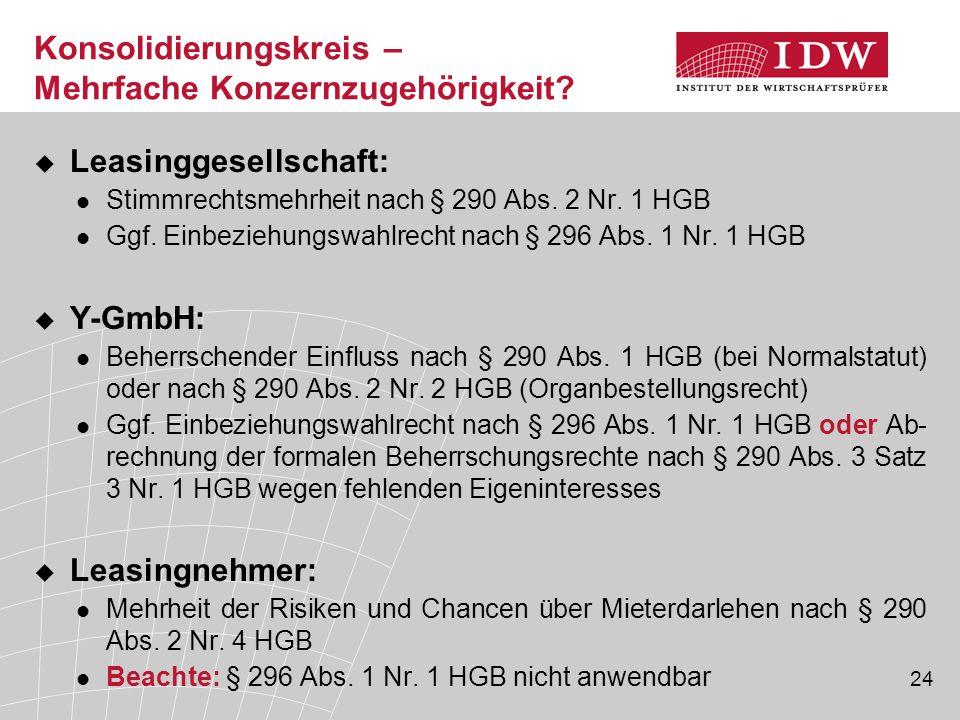24  Leasinggesellschaft: Stimmrechtsmehrheit nach § 290 Abs. 2 Nr. 1 HGB Ggf. Einbeziehungswahlrecht nach § 296 Abs. 1 Nr. 1 HGB  Y-GmbH: Beherrsche