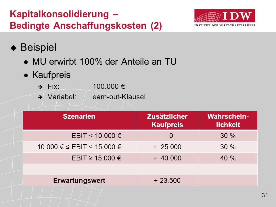 31  Beispiel MU erwirbt 100% der Anteile an TU Kaufpreis  Fix:100.000 €  Variabel:earn-out-Klausel Kapitalkonsolidierung – Bedingte Anschaffungskos